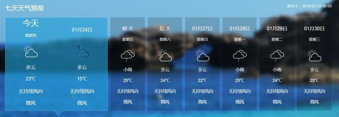 琼中未来15天天气+