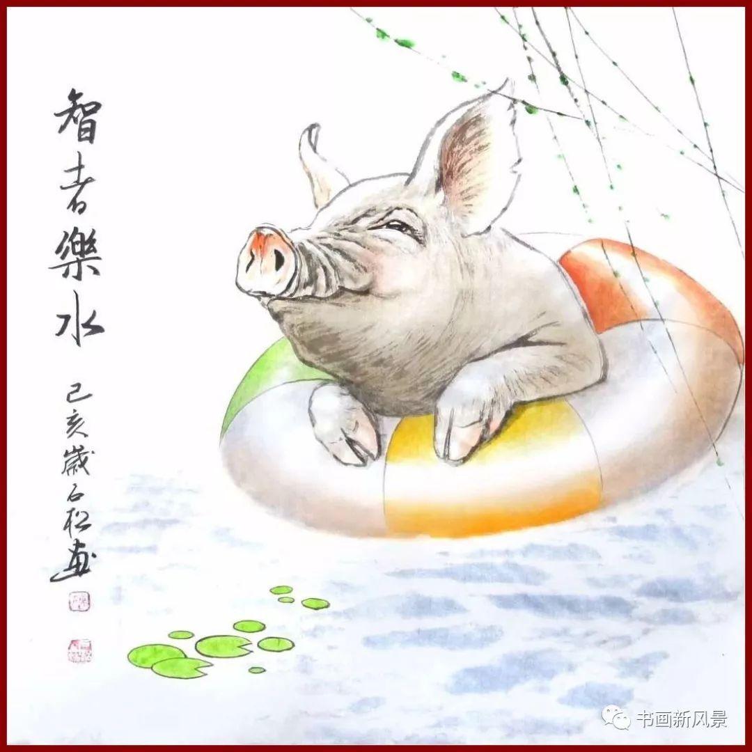 他画的小福猪,太逗啦!图片