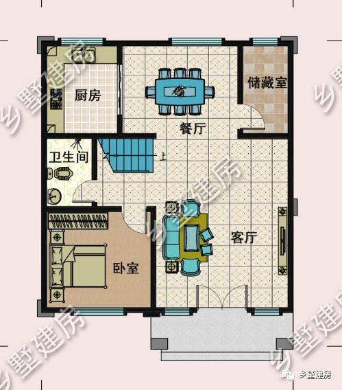 一层平面图   设计客厅,卧室,餐厅,厨房,卫生间,储藏室,储藏室方便存放物品,保持室内干净整洁.