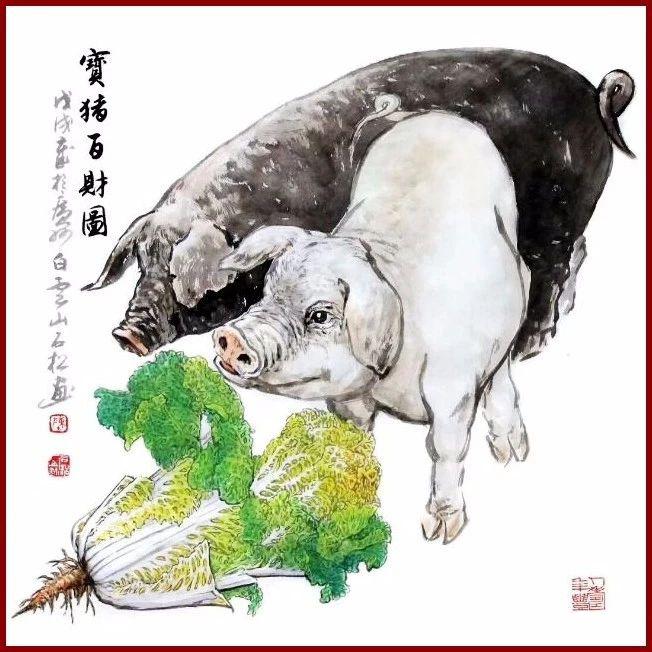 文化 正文  这是画家陈石松画的一组小福猪 己亥猪年还有6天 一起来沾图片