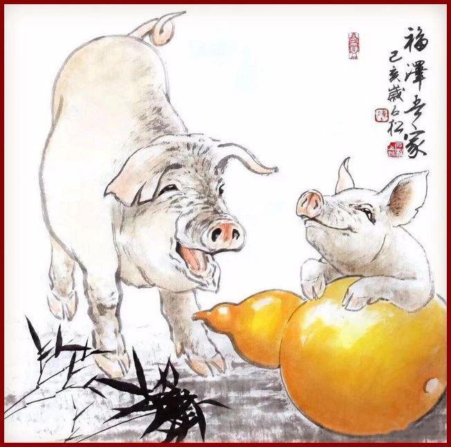 这是画家陈石松画的一组小福猪 己亥猪年还有6天 一起来沾沾福气!图片
