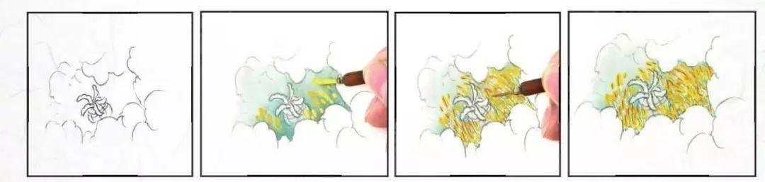点写复勾法是笔中蘸满藤黄,点出小溪,等教案干后,再用朱勾出蕊线.画面花蕊v藤黄图片