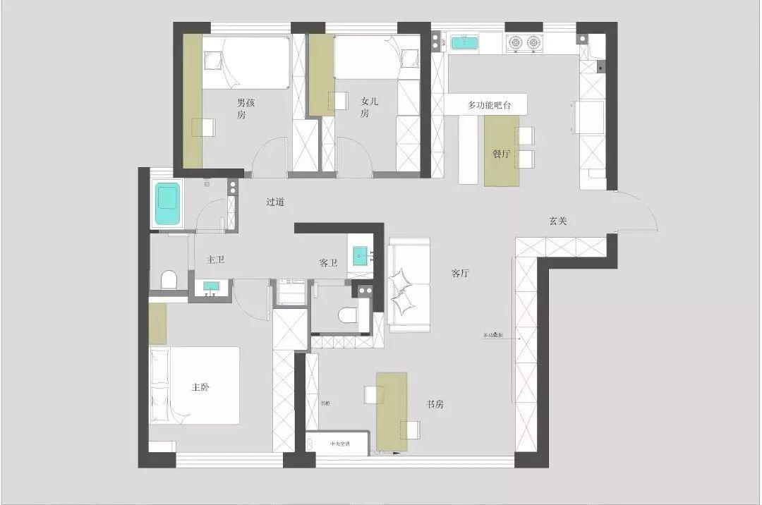 家居书房平面图