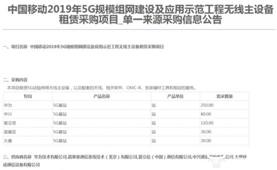中国移动首批5G建设规模出炉 中兴诺基亚意外沉沦爱立信杀出重围