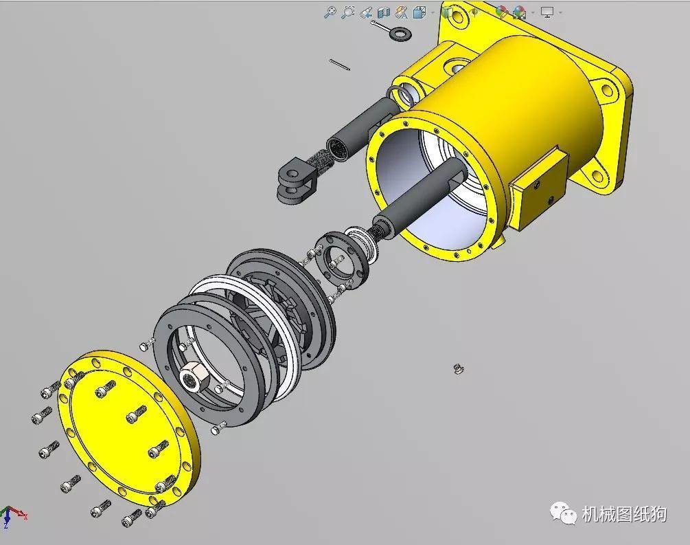 【工程机械】pneumatic drive气动传动装置3d图纸 solidworks设计图片
