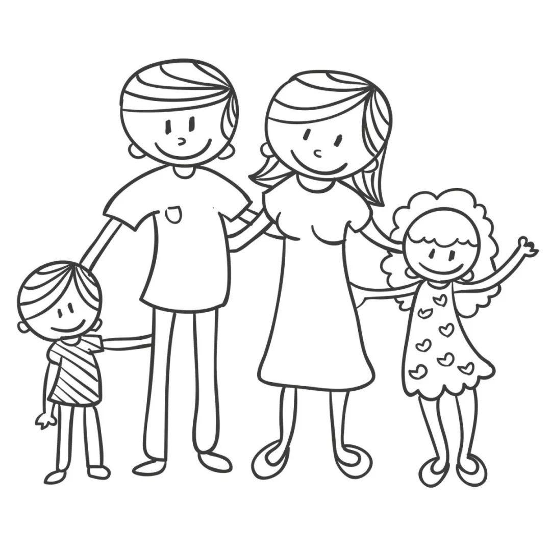 幸福的一家人简笔画 儿童简笔画幸福一家人 幸福一家人主题画
