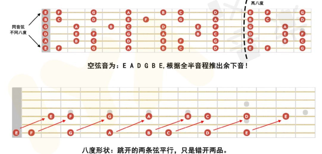 1.首先同学应该都知道吉他六根弦的空弦音从6弦到1弦分别是e、a、d、g、b、e.