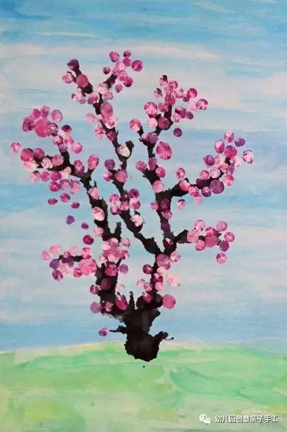 简单好看的樱花美术吹画,幼儿园必备