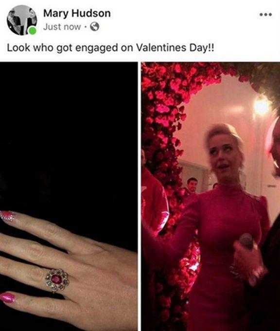 水果姐订婚戒指曝光 她妈妈在社交网络上晒出与奥兰多订婚的照片_凯蒂·佩里