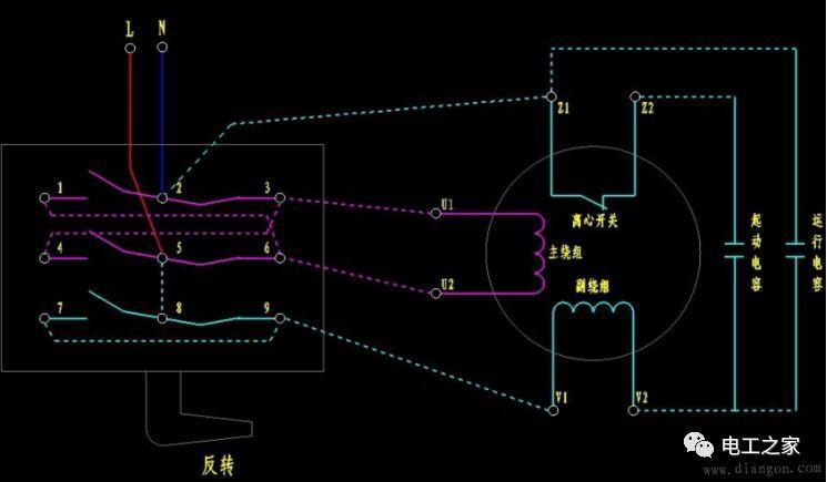 倒顺开关的实物接线图及讲解 电机