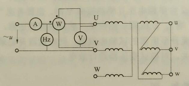 图3 三相变压器短路试验接线图 试验数据整理及计算: 4)试验时的三相