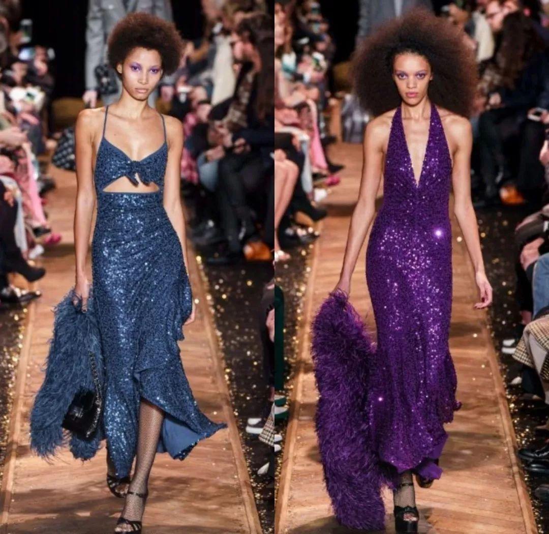 7ee885b86da9 Michael Kors 2019 秋冬系列灵感来自20世纪70年代的华丽与繁荣,让我们痴迷于这些身穿亮片裙,又有诱人的黑色网袜的海报女郎!