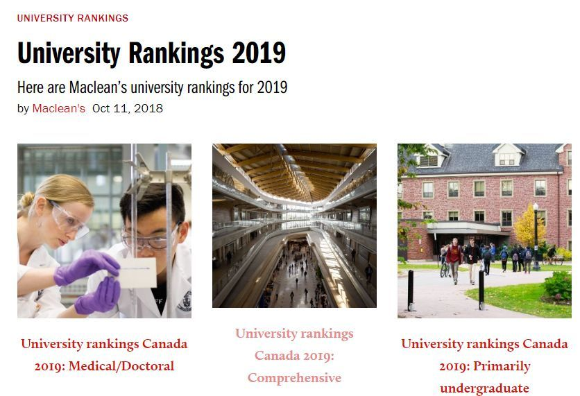 Maclean's 加拿大2019大学排行榜