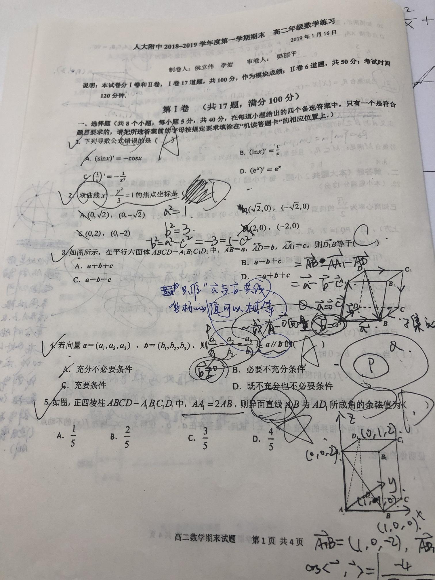 2018-2019人大附中高二期末考试数学真题