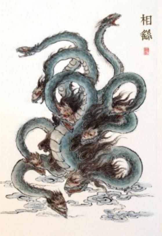 日本神话传说中的八岐大蛇,是我国的相柳,曾被大禹捅了一个耳朵