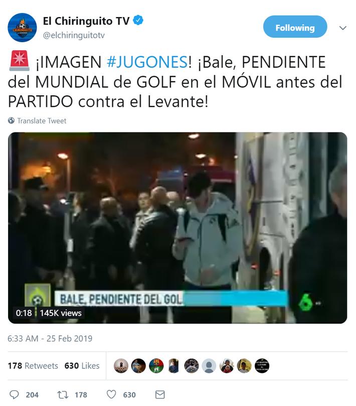 西班牙电视六台:贝尔生气因为错过了高尔夫世界杯