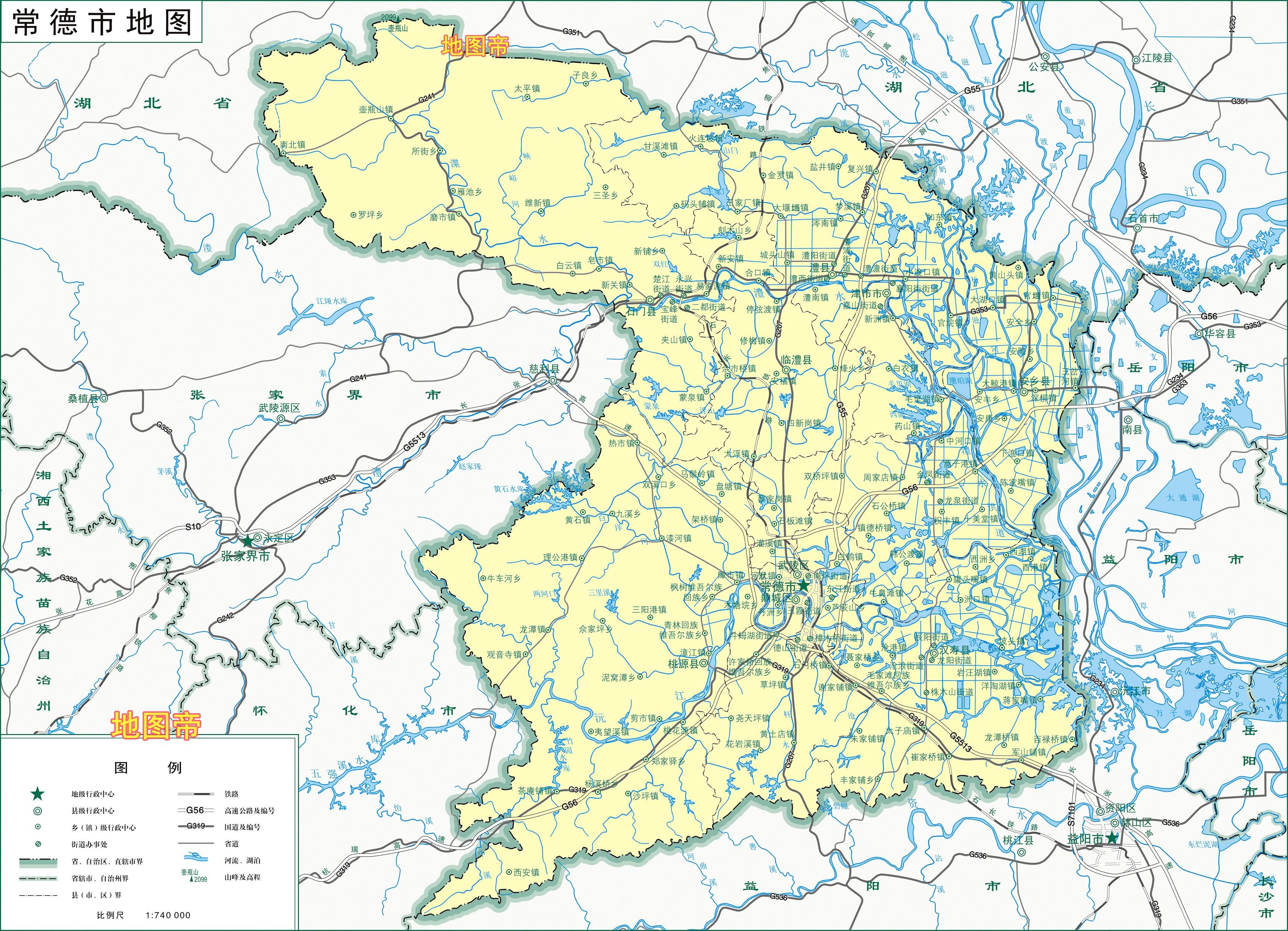 湖南常德2区6县1市,10幅最新高清地图图片