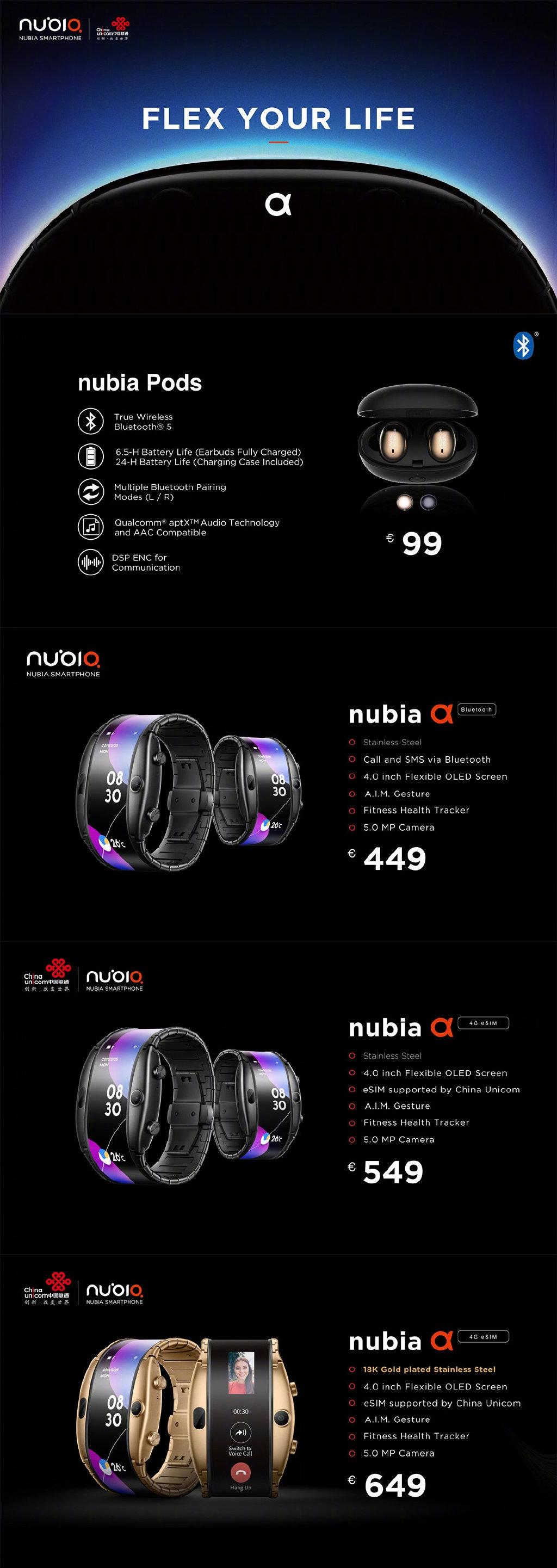 老牌厂商努比亚再发两款新品,柔性屏设备努比亚α太吸睛