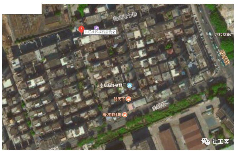 棋盘一般的居住小区(百度卫星地图)