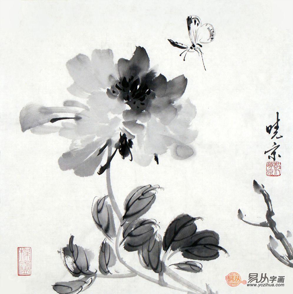 郑晓京作品《水墨牡丹蝴蝶》(作品选自:易从网)