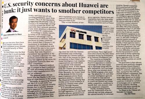 """中國駐加大使:華為設備沒有也不會對國傢安全造成威脅_有關"""""""