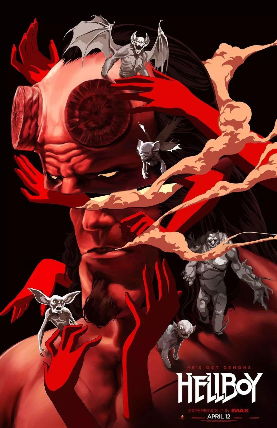 《地獄男爵》藝術海報被血手包圍