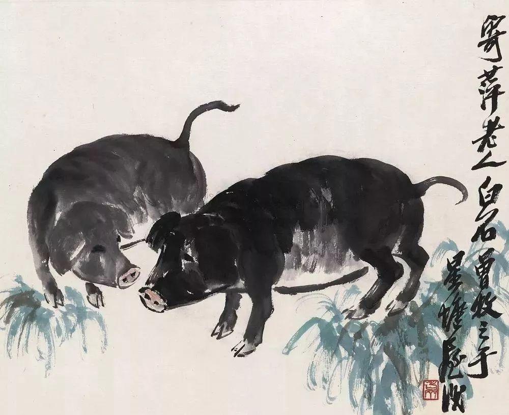 诸事祥和|且看中国画四大画家画墨猪图片