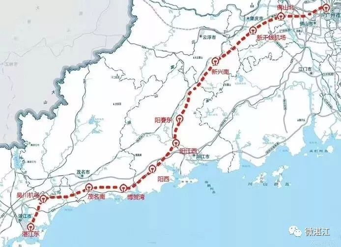 湛江附近未来将会有5个高铁站,离廉江.图片
