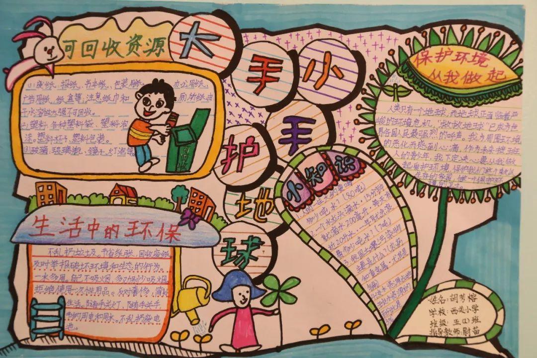 临汾小学生创作主题手抄报呼吁保卫环境,呼唤碧水蓝天图片