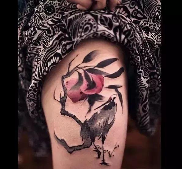 仙鹤纹身,吉祥又长寿的象征