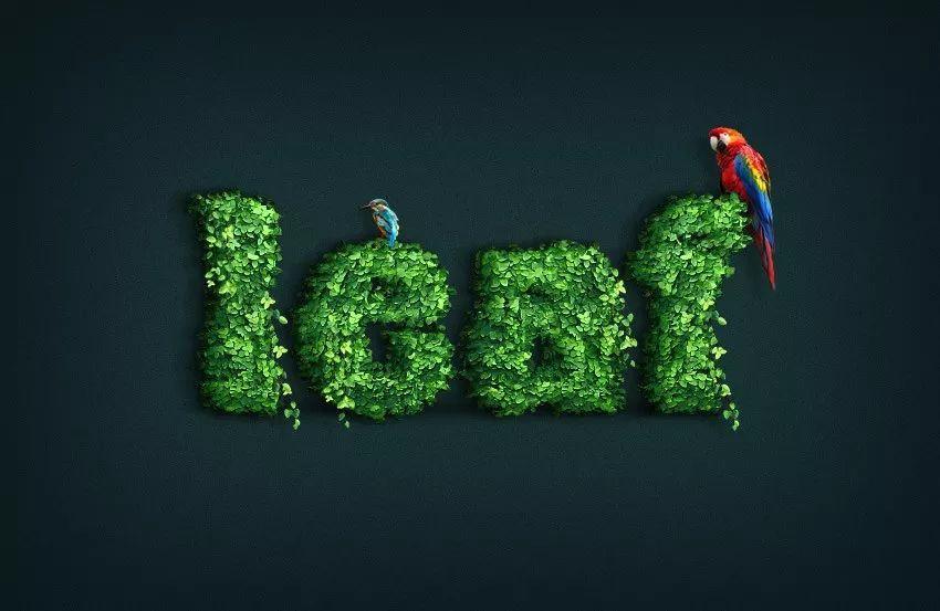 巧用PS设计打造字体覆盖效果配方!_作业聚氯乙烯设计树叶加工图片