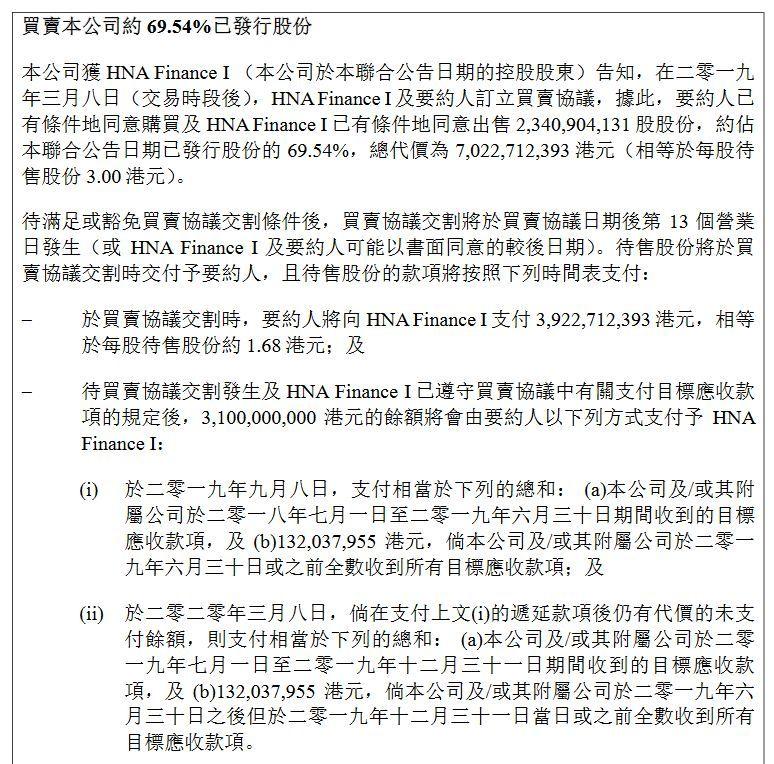 此次交易的每股价格为3港元,而3月8日香港国际建投的收盘价为2.62港元/股,溢价约14.5%。