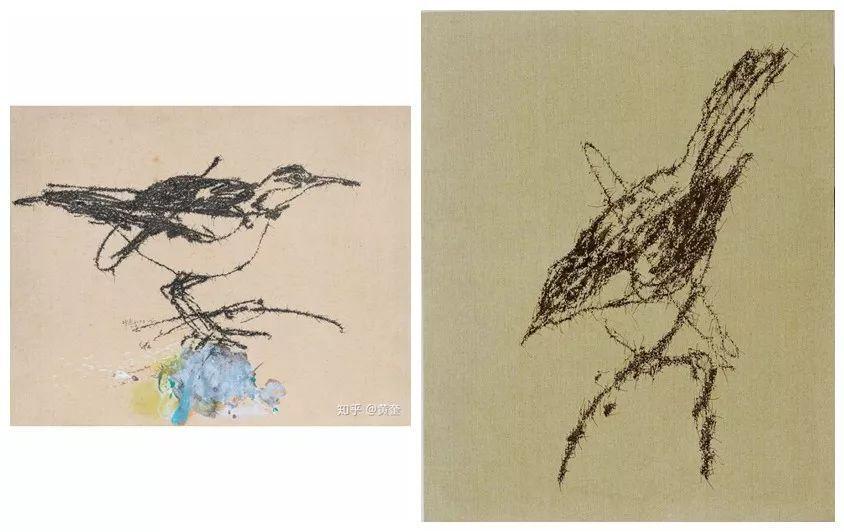 左侧为叶永青画作,右侧为西尔万画作.图片
