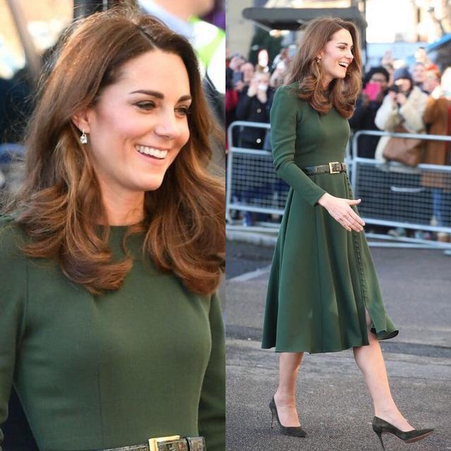 凯特1个月4套绿色穿搭引领新时尚,1万6鲜绿毛呢裙比梅根还美_风格 时尚生活 第6张