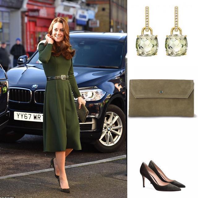 凯特1个月4套绿色穿搭引领新时尚,1万6鲜绿毛呢裙比梅根还美_风格 时尚生活 第7张