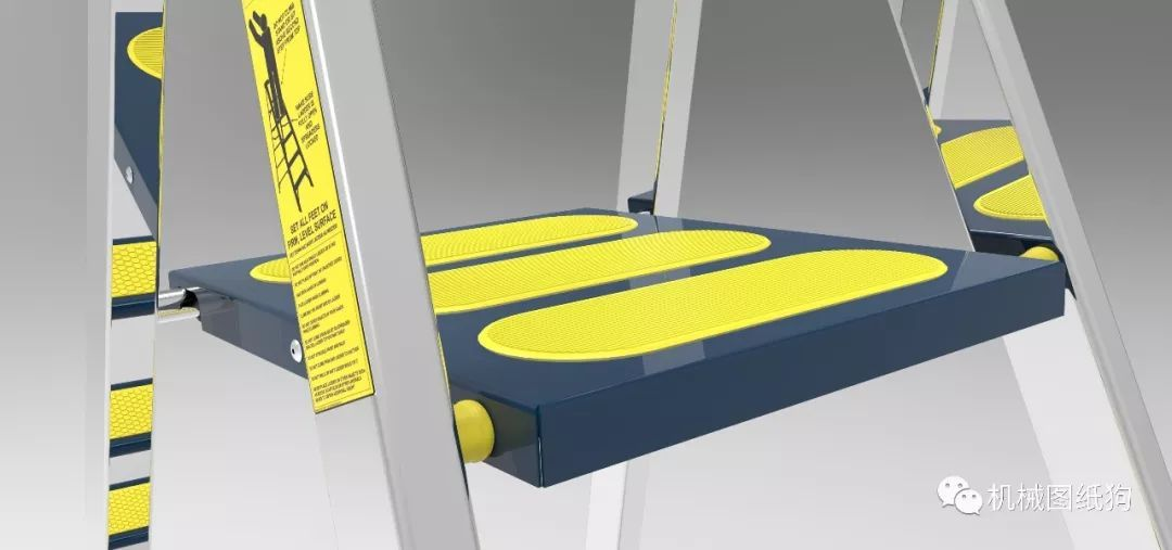 【工程机械】4阶人字梯模型3d图纸 step格式