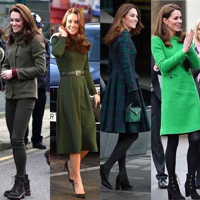 凯特1个月4套绿色穿搭引领新时尚,1万6鲜绿毛呢裙比梅根还美_风格 时尚生活 第12张