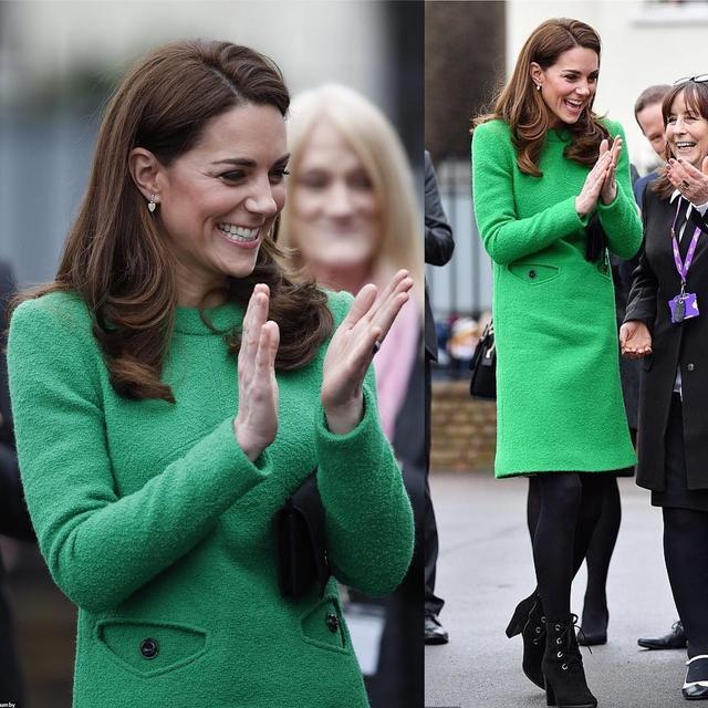 凯特1个月4套绿色穿搭引领新时尚,1万6鲜绿毛呢裙比梅根还美_风格 时尚生活 第2张