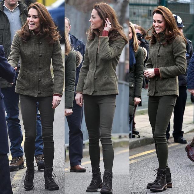凯特1个月4套绿色穿搭引领新时尚,1万6鲜绿毛呢裙比梅根还美_风格 时尚生活 第4张
