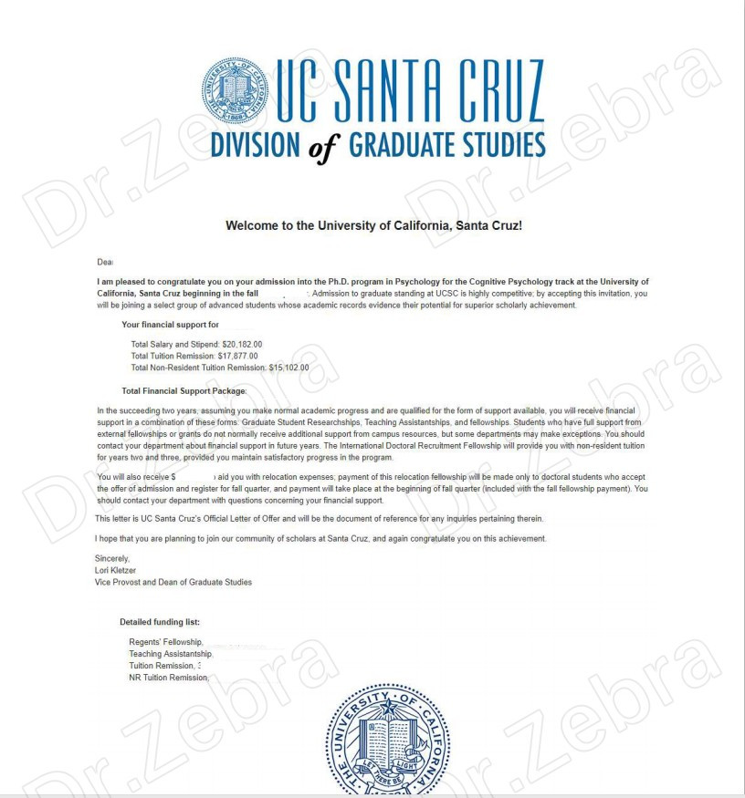 University of California, Santa Cruz ,UCSC,Ph.D.in Psychology ,Cognitive Psychology Track,加州大学圣克鲁兹分校,心理学博士 ,53161美元奖学金