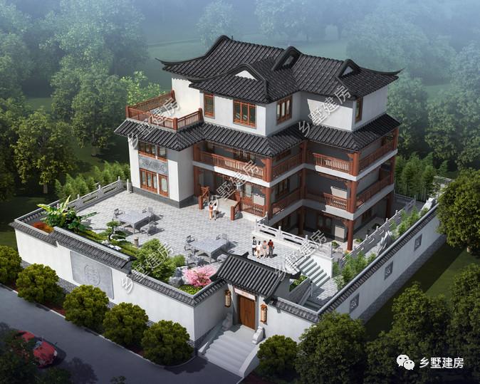 农村新中式别墅四合院,自带小院和露台,这才是家所向往的地方