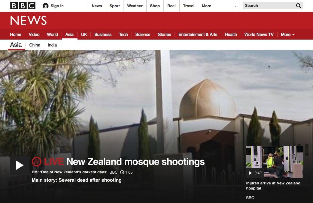 新西兰基督城一清真寺遭枪手袭击 疑已致多人死亡