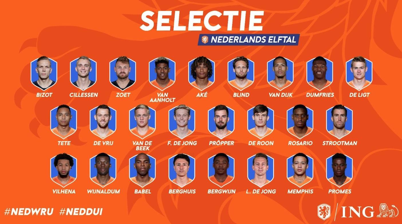 荷兰最新25人大名单:范迪克压阵 德容领衔中场_阿尔克马尔 体育新闻 第1张