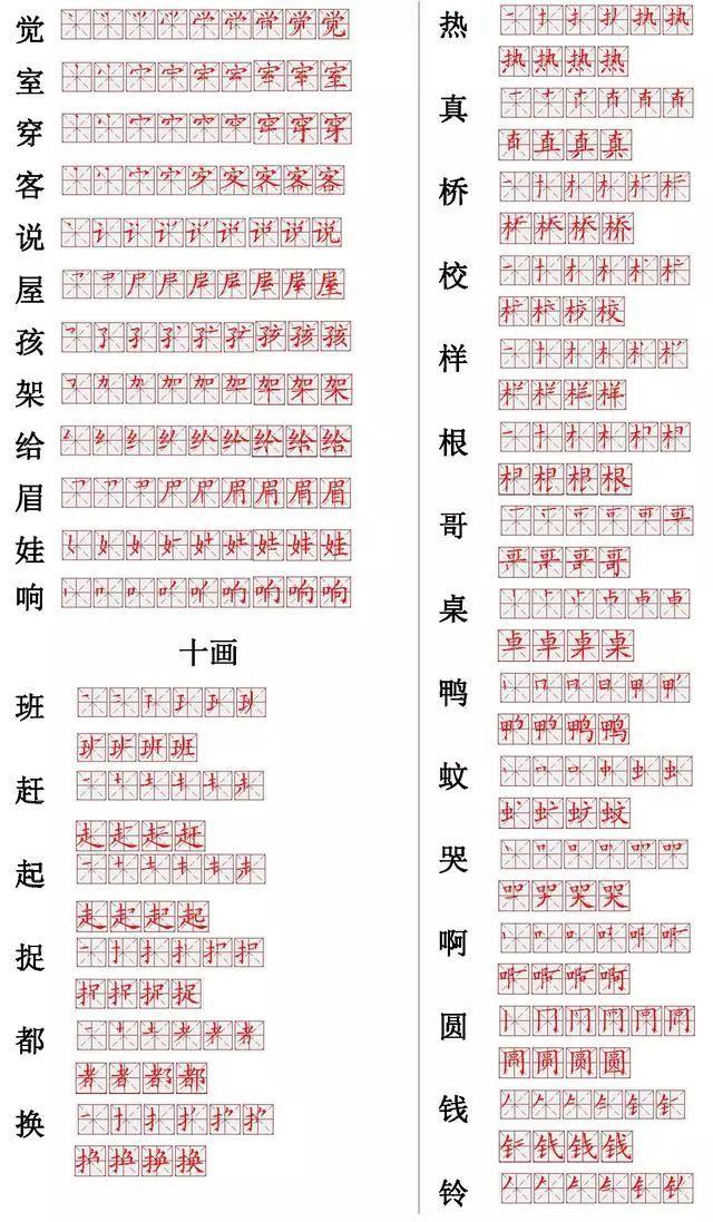 小学语文常用560个生字笔画笔顺表