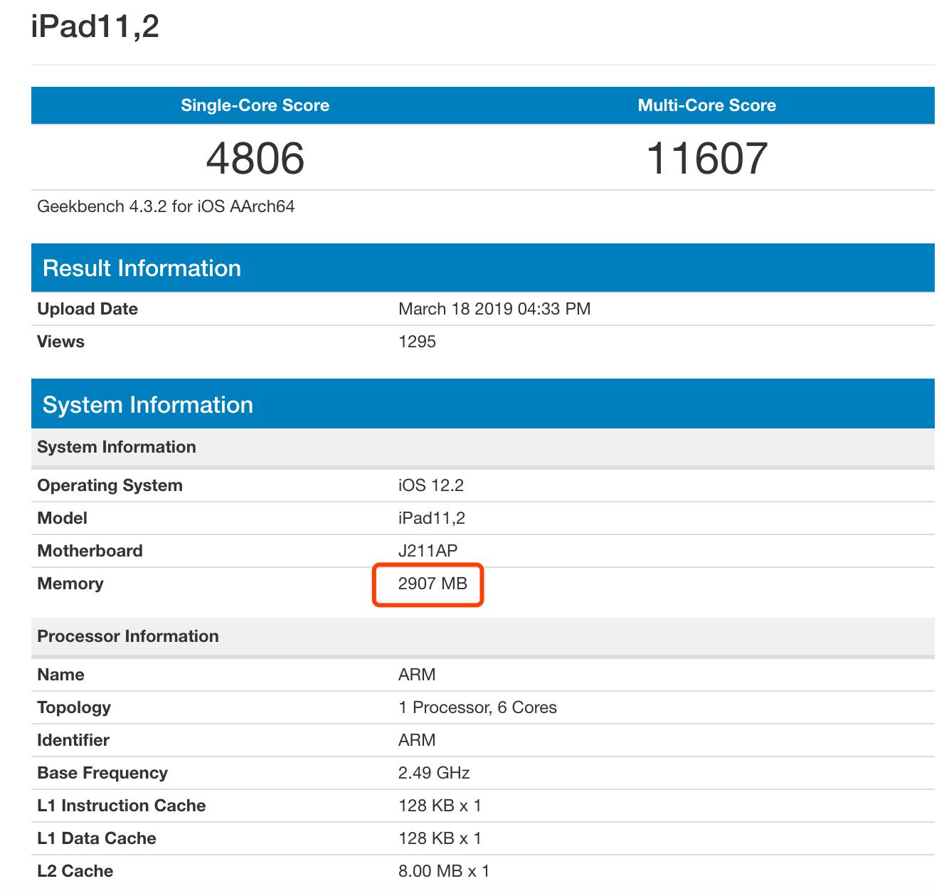 苹果新款iPad现身跑分库:性能强劲,可惜内存只有3GB