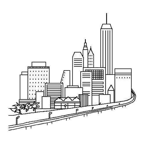 城市高楼大厦简笔画图片