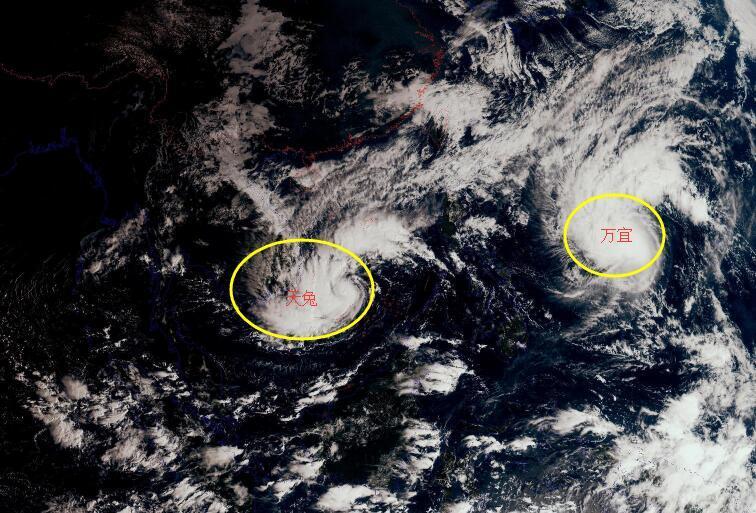 """""""天兔""""蓝色预警!双台风加强中,28号台风万宜变化复杂"""