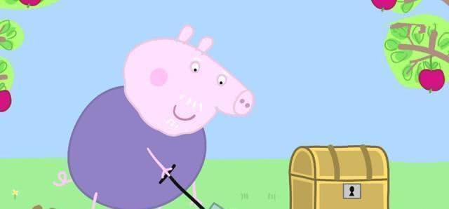 小猪佩奇 猪爷爷为佩奇乔治准备寻宝游戏,原来宝藏是巧克力金币