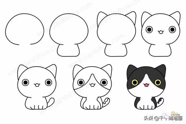 怎么画小猫简笔画