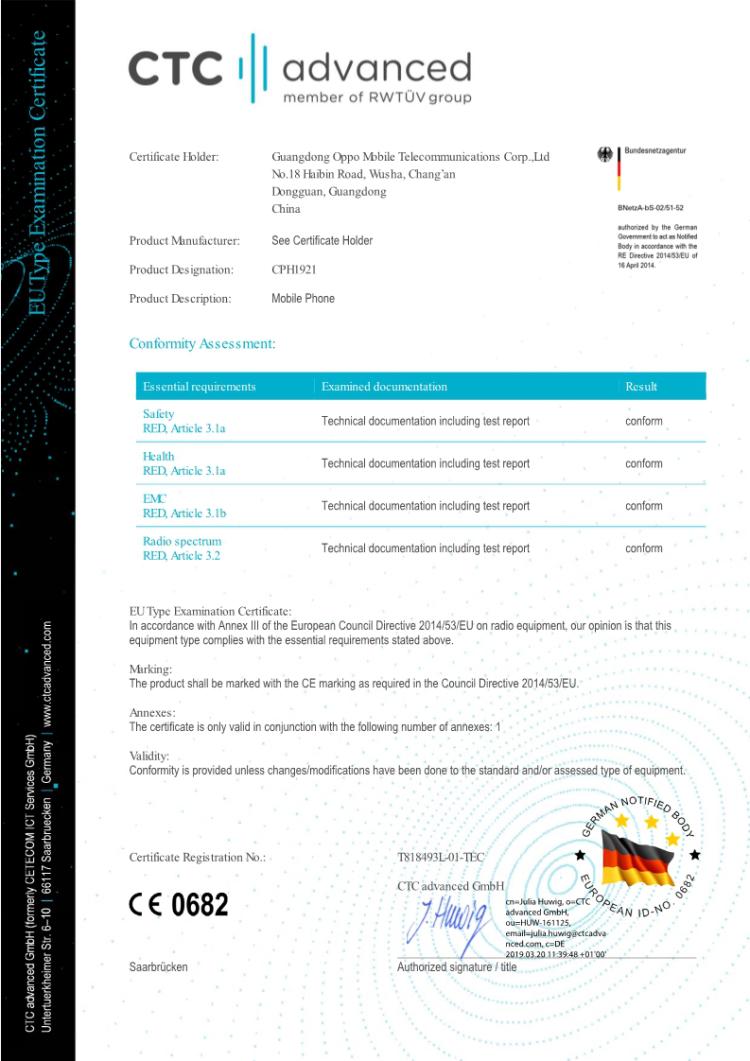OPPO 5G智能手机顺利通过国际检测服务机构CE测试